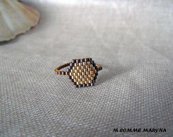 Beaded ring beads Miyuki Bronze and gold peyote Bohostyle boho chic Bohemian. Size 55-56 ring