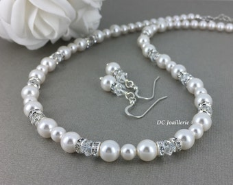 White Pearl Necklace Swarovski Jewelry Gift for Her Bridesmaid Gift for Mother of Bride Mother of Groom Gift Bridal Necklace Wedding Jewelry