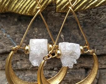 Celestial Druzy Crescent Moon Earrings - 14k Gold Filled Earhooks