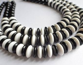 Gladys - Black White Glass Mod Multi Strand Statement Necklace