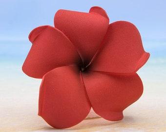 Red Plumeria Hair Clip, 3 inch,  Hair Flower, Hair Accessory