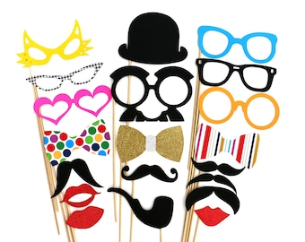 Photo Booth Props - 20 Piece Photobooth Party Set with GLITTER - Weddings - Birthday