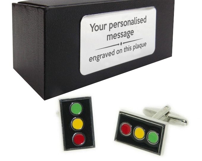 Car driving traffic light themed transport novelty CUFFLINKS birthday gift, presentation box PERSONALISED customized ENGRAVED plate - 035