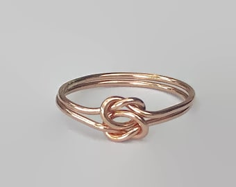 Rose gold ring/ Double knot ring/ love knot ring/ thin rings/ stacking rings/ promise ring
