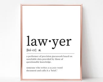 Lawyer Definition Print - DIGITAL DOWNLOAD - Lawyer Dictionary Printable Poster - Lawyer Gift - Dictionary Instant Download - Coworker Gift