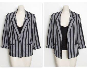 1980s Cos Cob Blazer / Black & Gray Vertical Stripes / Vintage 80s New Wave Jacket