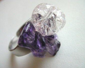 Amethyst Quartz Ring - Lillac, Light Purple Stone Adjustable Ring
