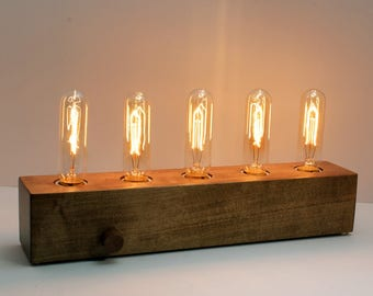 Wood desk lamp etsy wooden edison lamp desk lamp table lamp edison bulb fabric wire greentooth Choice Image