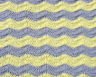 Chevron Blanket, Cuddle Time, Crochet Baby Blanket, Little Girl Afghan, Ripple Crochet, Yellow Stripe, Gray Stripe, Crib Bedding, Tummy Time
