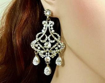 Chandelier Bridal Earrings, Art Deco Wedding Earrings, Cubic Zirconia Cz Drop Earrings, Statement Wedding Jewelry, Swarovski Jewelry, CARMEN