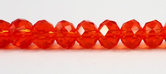 """Rondelle Crystal Beads 6x4mm (4x6mm) Dark Red-Orange Crystal Rondelle Beads, Chinese Crystal Glass Beads on an 8 1/2"""" Strand with 49 Beads"""