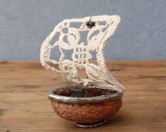 Thumbelina Walnut Sailboat - Vintage Doily, Walnut, Soldering, Tiny Fairy tale boat