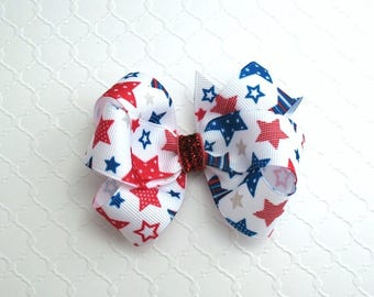 Fourth of July Glitter Hair Bows for Toddlers, Girls ~ Patriotic Pinwheel Hair Bow, Red White & Blue Bow