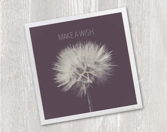 Art Magnet | Make a Wish Dandelion | Inspirational Quote | Art Typography | Kitchen Fridge Magnet