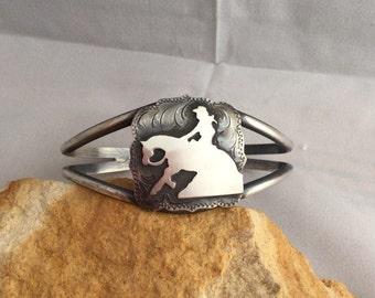 Reining Horse Cuff Bracelet / Artisan Handmade/ Sterling Silver