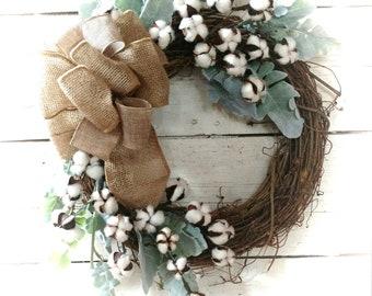 Cotton Boll Wreath, Farmhouse Wreath,Cotton Boll Decor, Farmhouse Swag, Cotton Boll Swag, All Season Wreath, Farmhouse Decor,Woodland Decor
