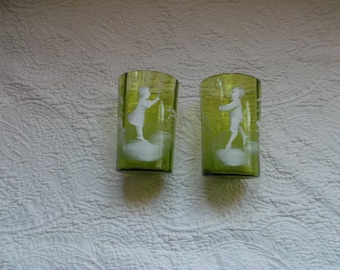 Pair of Antique Mary Gregory Light Moss Green Glass Tumblers with Boy and Girl