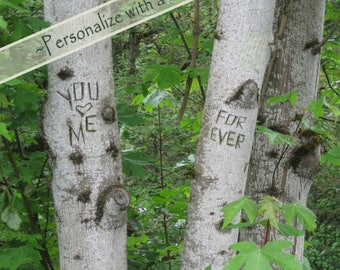 You (heart) Me Forever, WITH or WITHOUT date, digital tree carving with message, birch trees, print, anniversary, wedding gift