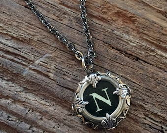 Letter N  Typewriter Key Necklace