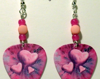 VALENTINE'S DAY Pink Hearts Guitar Pick Beaded Earrings - Handmade in USA