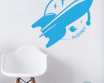 Personalised Space Ship Removable Wall Decal & Sticker for Home, Office, Nursery