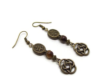 Celtic Earrings - Bronze Earrings - Celtic Knot Earrings - Celtic Jewelry - Tigers Eye - Gemstone Earrings - Celtic Jewellery