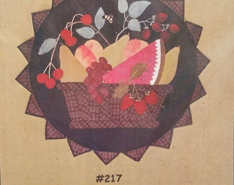 Wall Quilt Sewing Pattern. Fruit Basket. All Through The Night 217. 20 Inch Circle. Quilting Pattern.