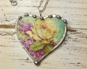 "Broken China Jewelry, ""THREE CROWN CHINA of Germany""  Heart Necklace, Recycled Dish, Sterling Silver"