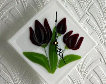 Tulip - 'Night Queen' - Exclusive kiln fused art glass wall clock