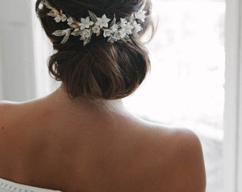 VERSAILLES | floral wedding headpiece, gold bridal headpiece, floral bridal comb
