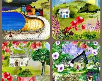 Set of 4 double drawings digital original watercolor 14cm x 14cm