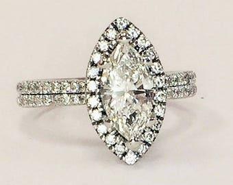 Diamond Halo Engagement Ring / Marquise Shape / 14k
