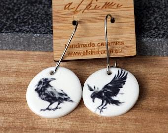 NEW Porcelain Dangle Earrings - Mismatched Earrings Circle The Raven -  ALKIMI - Surgical Steel Kidney Hoop Earrings -