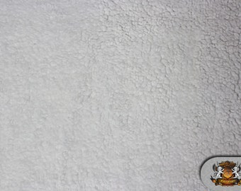 "Minky SHERPA White Fabric / 60"" Wide / Sold By the yard"