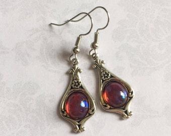 Dragons Breath Opal Earrings, Fire Opal Earrings, Fire Opal Jewelry, Steampunk Earrings, Gothic Earrings, Victorian Earrings, Red Earrings