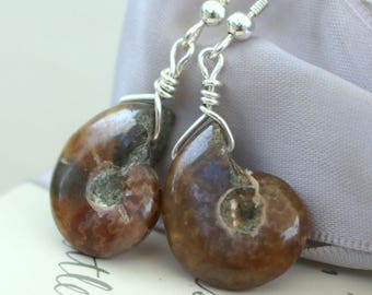 Ammonite Fossil Bead earrings