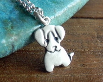 Puppy sterling silver necklace dog charm animal necklace - beagle necklace pet lover gift