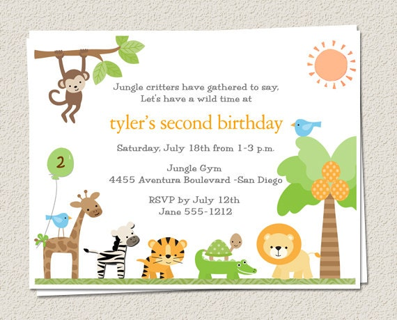 Jungle themed birthday party invitations idealstalist jungle themed birthday party invitations stopboris Gallery