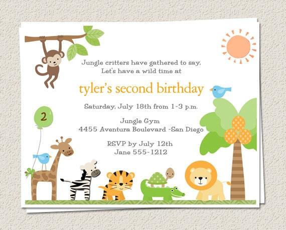10 Birthday Party Invitations Jungle Zoo Safari King of