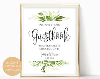 Personalized Guestbook Sign Editable Instant Photo Guest book Snap It Shake It Stick It Sign It DIY Instant Download 8x10, 5x7, 4x6 Greenery
