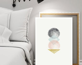Abstract Watercolor Geometric Shapes Wall Art Printable - Texture Scandinavian Decor Pastel Wall Art - Modern Minimalist Poster