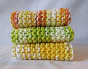 Set of 3 Bright Citrus Hand Made Wash Cloths