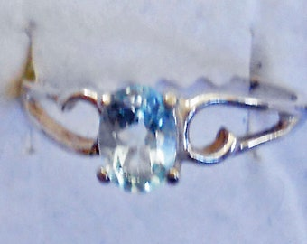 Size 8 Blue Topaz Sterling Silver Ring  New Vintage Wholesale