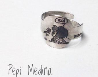 Mafalda silver ring, Mafalda comic ring, Quino's comic engraved ring