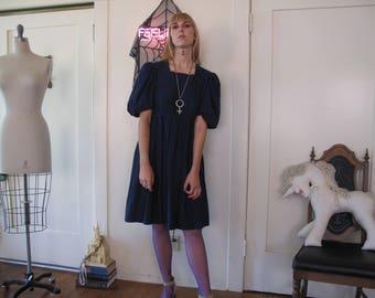 70's Handmade Puff Sleeve Dress sz Sm/Med