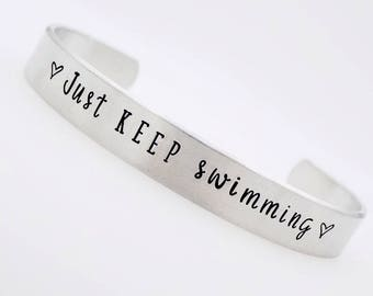Inspirational Hand Stamped Jewelry  Just Keep Swimming Inspiration  Stacking silver  jewelry  gift for her  gift for him  handmade