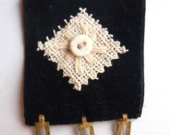 Square Brooch Pin in Black Velvet, Cream and Vintage Gold