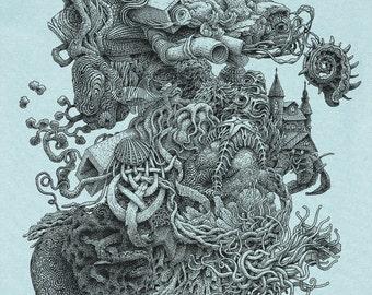 Weird Shirt - Men's Gift - Surreal T-shirt - Ocean Art - Surrealism - Surreal Art - Weird Stuff - Hermit Crab Shells Fish