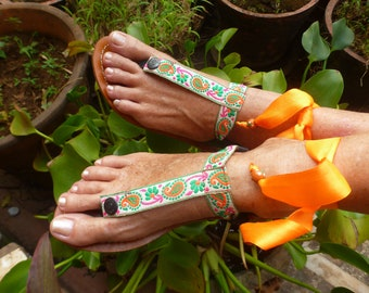 Boho  Leather Sandal Woman Sole/Base Pakashoes With Fancy Embroidery Switchable Free Shipping