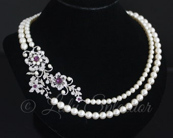 Bridal Necklace Amethyst Purple Wedding Jewelry Amethyst Crystal Wedding Necklace Flower Statement Bridal Necklace  SABINE NECKLET